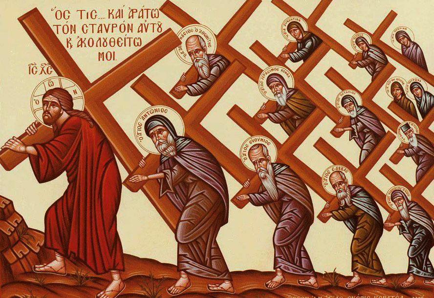 Αποτέλεσμα εικόνας για ΜΟΝΑΧΌς αίρει σταυρό